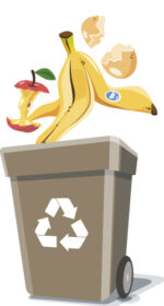 Colored illustration of separation garbage bins with organic, paper, plastic, glass, metal, e-waste and mixed waste. Different trash types in cartoon style. Trash types segregation recycling management concept.